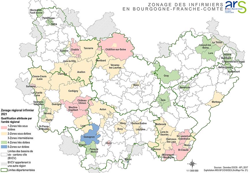 Carte du zonage infirmiers en Bourgogne-Franche-Comté